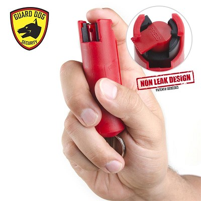 Red Hard Case Personal Defense Pepper Spray Keychain With Belt Clip