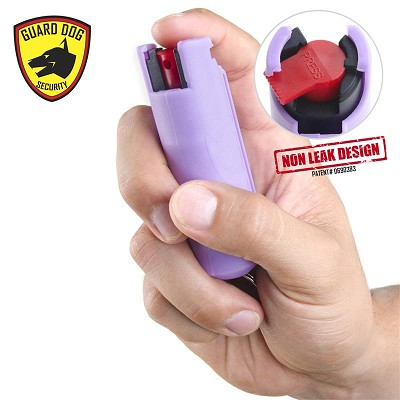 Lilac Hard Case Personal Defense Pepper Spray Keychain With Belt Clip