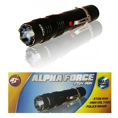 ALPHA FORCE Stun Gun 10 Million Volt Rechargeable LED Flashlight Black