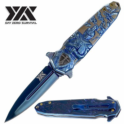 "DZS 8.5"" Spring Assisted Open Pocket Knife Knight Arthur Aluminum Handle"