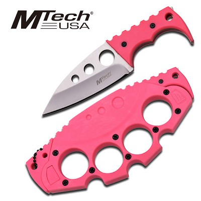 Knuckle Fixed Blade Neck Knife Girls Favourite In Pink With Sheath