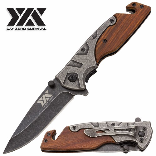 DZS Pocket Knife Stonewash Rescue Tactical EDC Wood Handle