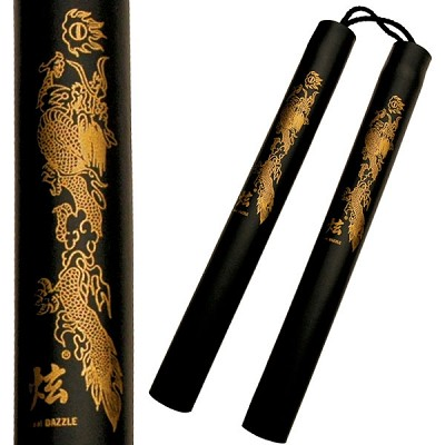 12 Inch Black Foam Padded Nunchaku with Dragon Graphic - Rope Version