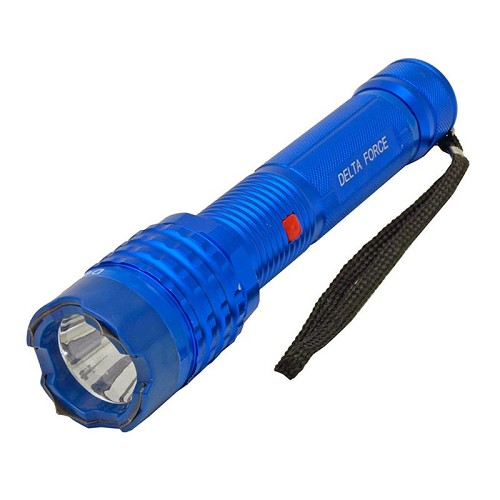 Delta Force Blue Metal Stun Gun 10 Million Volt Rechargeable LED Flashlight