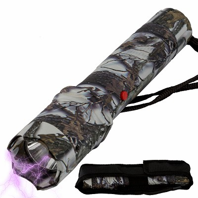 Tactical Elite Force Metal Stun Gun Rechargeable LED Flashlight Snow Camo