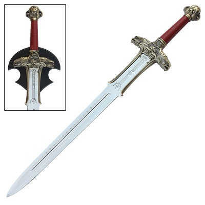 Medieval Barbarian Atlantean Sword With Wall Display Plaque