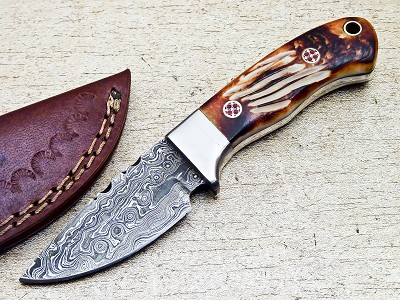 Damascus Steel Hunting Mini Skinning Knife Bone Handle 6