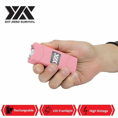 Pink DZS Rechargeable Self Defense Ultra Mini Stun Gun With LED FlashLight