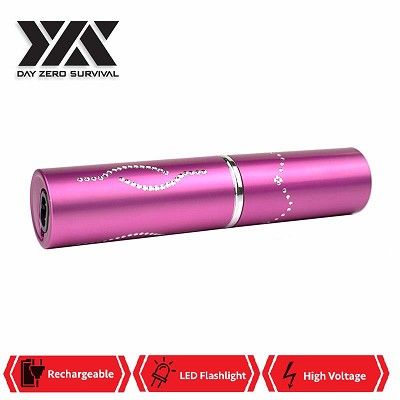 DZS Pink Rechargeable Lipstick 2.5 Million Volt Stun Gun With LED Light