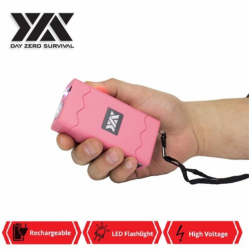 DZS Rechargeable Pink Stun Gun with Safety Disable Pin LED Flashlight