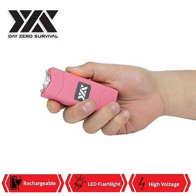 DZS Ultra Mini Pink Stun Gun Rechargeable With LED Light, Holster and KeyRing