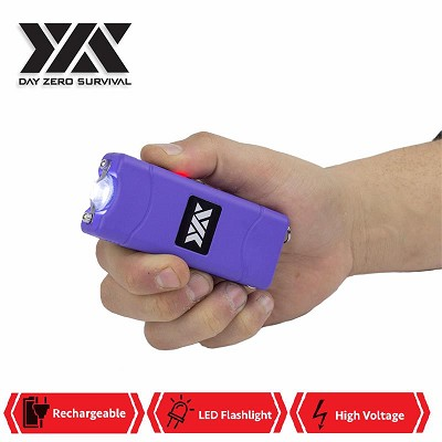 DZS Ultra Mini Purple Stun Gun Rechargeable With LED Light, Holster and KeyRing