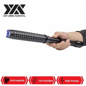"DZS LED Tactical Flash Light Stun Gun Expandable Baton 16.5"" - 18.75"""