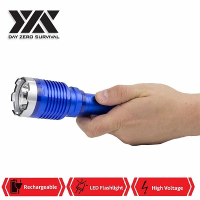 DZS Special Force Blue Tactical Metal Stun Gun Rechargeable LED Flashlight