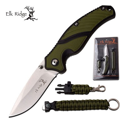 Elk Ridge Survival Gear Knife And Nylon Cord With Clam Shell Packing