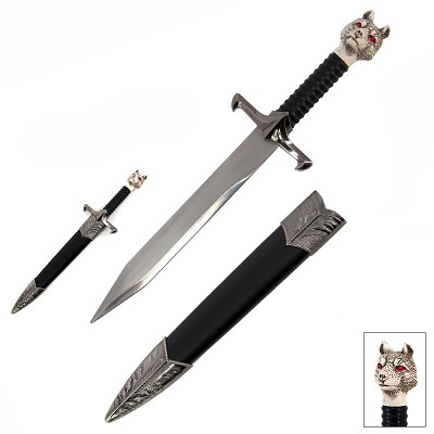 "12 1/4"" White Wolf Miniature Letter Opener Fantasy Short Sword Dagger Knife"