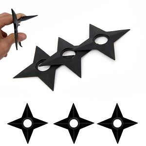 "3 Pcs Rubber Training Naruto Shuriken 5"" Star"