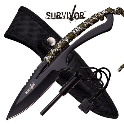 Survivor 8 Inch Fixed Blade Knife with Fire Starter -  Outdoor Camo Cord Wrapped Handle