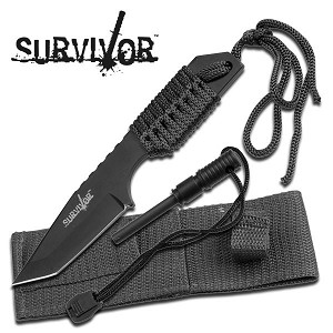 "Black 7"" Full Tang Tanto 4mm Blade Survival Knife with Sheath & Fire Starter"