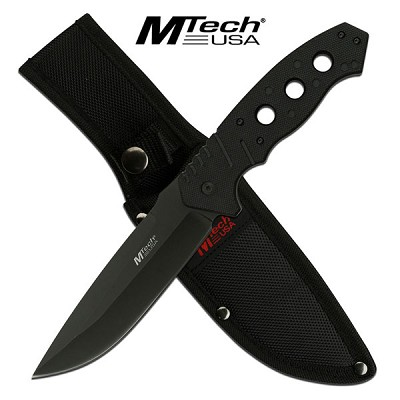 MTech USA 10.5 Inch Fixed Blade Survival Knife Black