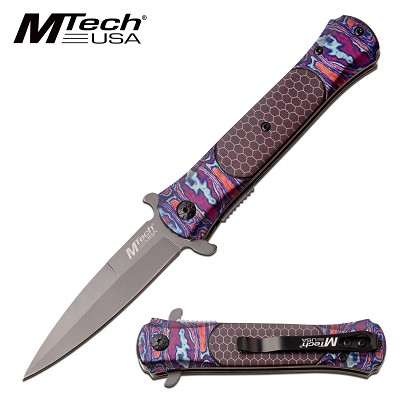 Mtech Stiletto Style Pocket Knife Spring Assisted Knife Timascus Pattern