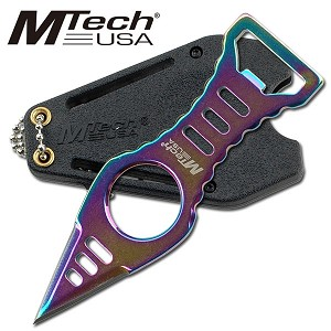 "4.45"" Rainbow Titanium Blade Neck Knife Dagger With Bottle Opener"