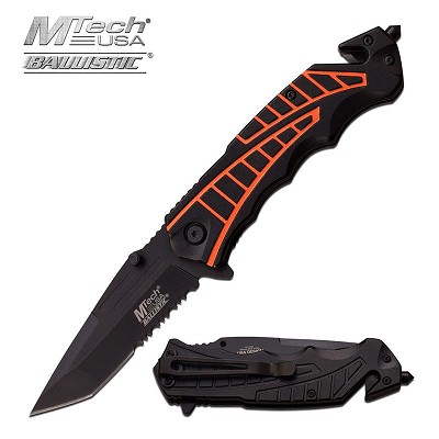 4.5 Inch Closed Black Orange Tactical Rescue Spring Assist Knife