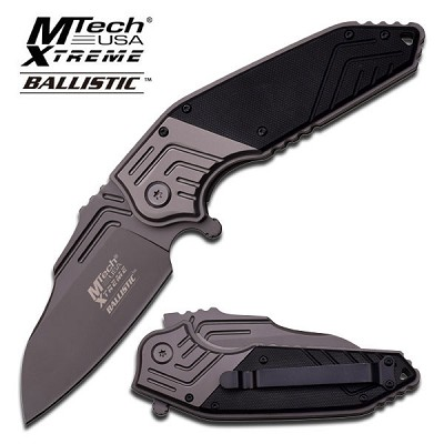 M-Tech Xtreme Ballistic Mammoth Black G10 Spring Assisted Knife - Gray