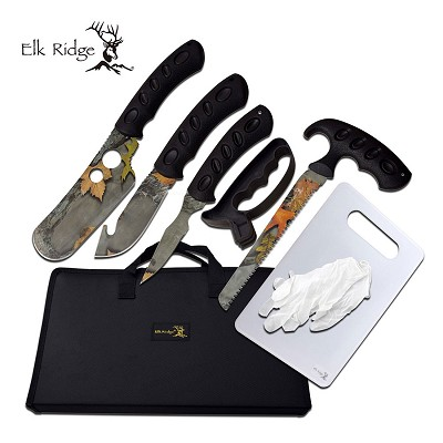 Hunting Knife Set 8-Pc. Camo Blade Skinning Kit + Case, Sharpener