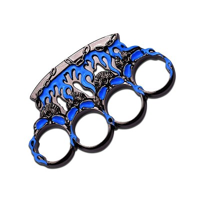 Blue and Gunmetal Flame Skull Knuckle Paperweight