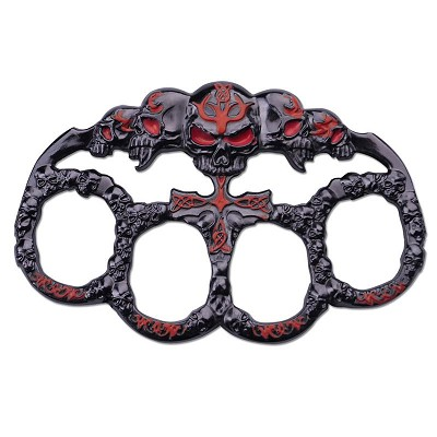 Skull Red Dark Silver Paperweight Goth Punk Knuckle Duster