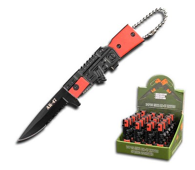 "3"" Closed 24 Pcs Mini AK-47 Design Assisted Opening Knife Set in Display Box"