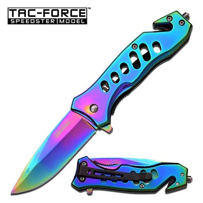 Tac Force Spring Assisted Knife 3.75 Inch Closed Titanium