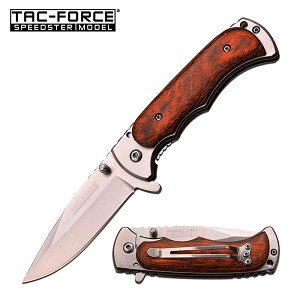Silver Blade Wood Hunter Tactical Spring Assisted Folding Knife