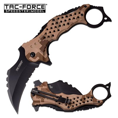 "3"" Black Serrated Blade Tan Camo Karambit Tactical Spring Assist Knife"