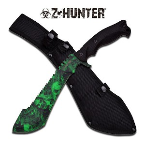 "15"" Fixed Blade Green Kukri Machete Knife With Skull Printed Blade"