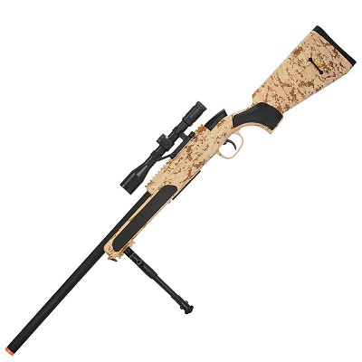 Airsoft MK51 Bolt Action Sniper Rifle With Scope & Bi-Pod Desert Digital