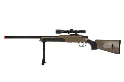 415 FPS Airsoft MK51 Bolt Action Sniper Rifle W/ Scope & Bi-Pod - TAN