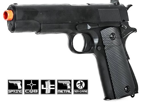 "P819 1911 Government 8.5"" Metal Spring Pistol Airsoft Hand Gun"