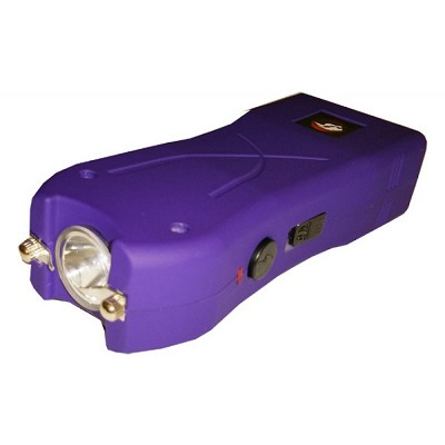 Purple Max Power Rechargeable Stun Gun Built in LED Light With Safety Pin