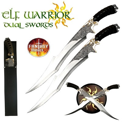 Elf Warrior Dual Swords With Wall Display Plaque and Sheath