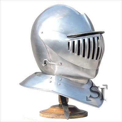 Medieval Knight's Full Size Armor Close Helmet With Stand