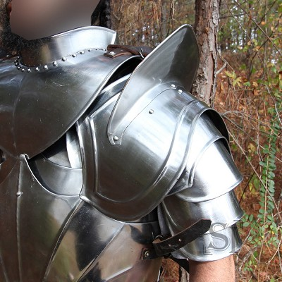 Medieval 18G Steel Body Armour Pauldron Shoulder Neck Armor with Blade Breaker